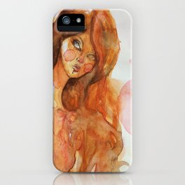 Watercolor girl iPhone Case