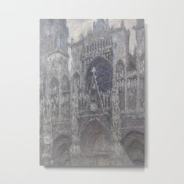 The Cathedral in Rouen. The portal, Grey Weather Metal Print