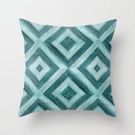 Rich Aqua Blue Inlaid Wood Throw Pillow