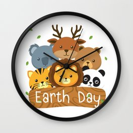 Earth Day For Kids Love Animals Wall Clock