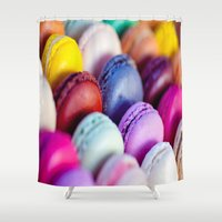 macaroons Shower Curtains featuring Macaroons by rosita