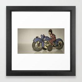 Biker Tin Toy Framed Art Print