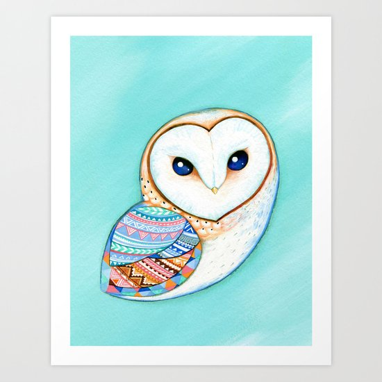 Tribal Pattern Barn Owl Art Print