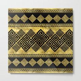 Greek Meander - Greek Key Black and gold  Metal Print