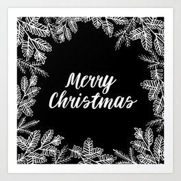 Merry Christmas Black and White Art Print