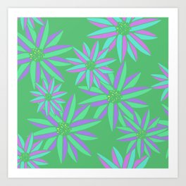 Green and Pink Small Bright Flowers Digital Pattern Art Print
