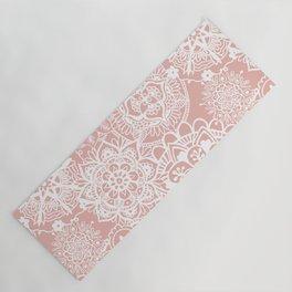 White and Rose Pink Mandala Pattern Yoga Mat