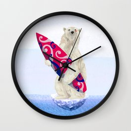 Polar bear & Surf (tribal pink) Wall Clock
