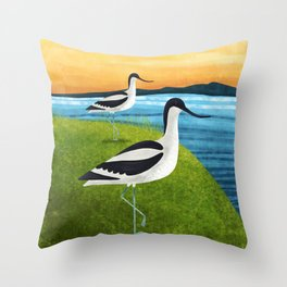 Two Avocets In Suffolk Throw Pillow