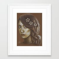 snsd Framed Art Prints featuring Sepia Yoona by Jane Stradwick