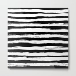Grunge black and white ink stripes Metal Print