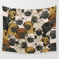 dogs Wall Tapestries featuring Social Pugz by Huebucket