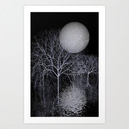 dark night - pale moon Art Print