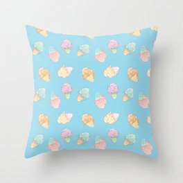 Pastel Melted Ice Cream (Blue) Throw Pillow