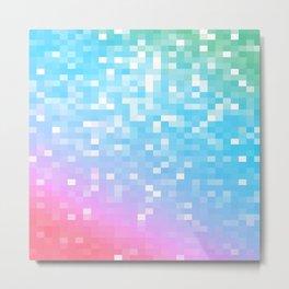 Pink Blue Teal Pixels Metal Print