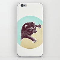 climbing iPhone & iPod Skins featuring Climbing Raccoon by KokDamon Lam