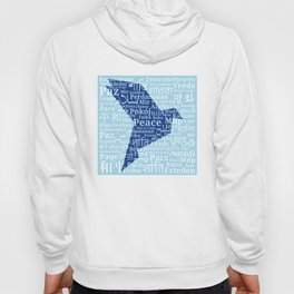 "Dove-origami on the background of the word ""Peace"" in different languages of the World Hoody"