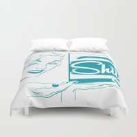 shit Duvet Covers featuring Shit!  by Plan 9 Design