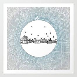 Brooklyn, New York City Skyline Illustration Drawing Art Print