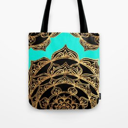 Gold Lace on Turquoise Tote Bag