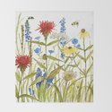 Garden Flower Bees Contemporary Illustration Painting by betweentheweeds
