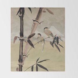 Two Birds in Bamboo Tree Throw Blanket