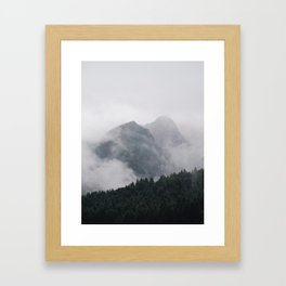 Minimalist Modern Photography Landscape Pine Forest Jagged High Grey Mountains Framed Art Print