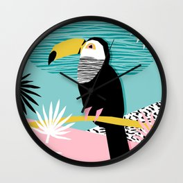 Loopy - wacka designs abstract bird toucan tropical memphis throwback retro neon 1980s style pop art Wall Clock