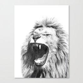 Black White Fierce Lion Canvas Print