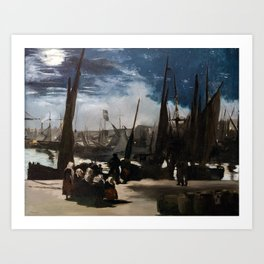 Edouard Manet - The Port of Boulogne by Moonlight Art Print