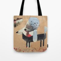 poodle Tote Bags featuring Poodle by Natalie Pudalov