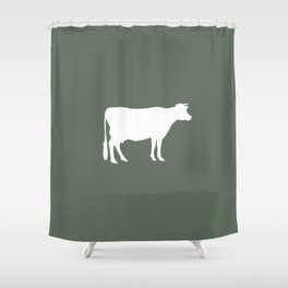 Cow: Green Shower Curtain