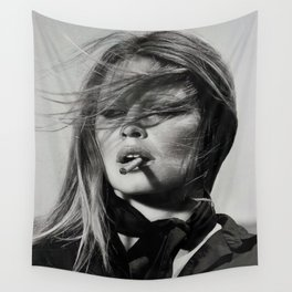 Brigitte Bardot Smoking a Cigarette, Black and White Photograph Wall Tapestry