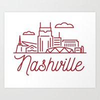 nashville Art Prints featuring Nashville by Rob Allgood