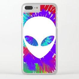 Rainbow tie dye alien head tye die trippy rave Clear iPhone Case