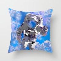 astronaut Throw Pillows featuring Astronaut  by Saundra Myles