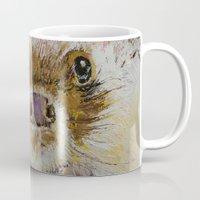 hedgehog Mugs featuring Hedgehog by Michael Creese