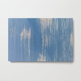 White on Blue Painted Wall Texture Metal Print