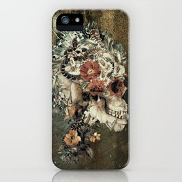 Skull on old grunge iPhone Case