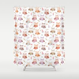 Cute pink lilac owls coral green floral illustration pattern Shower Curtain