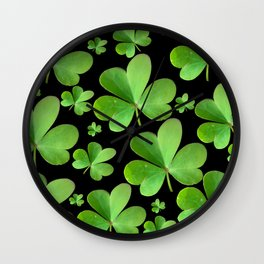 Clovers on Black Wall Clock