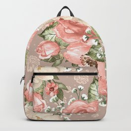 Peach Blush Vintage Watercolor Floral Pattern Backpack