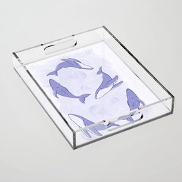 Hand-Drawn Humpback Whale Song in Indigo Acrylic Tray