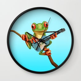 Tree Frog Playing Acoustic Guitar with Flag of Guatemala Wall Clock