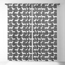 Dachshund Silhouette Black and White Pattern Sheer Curtain
