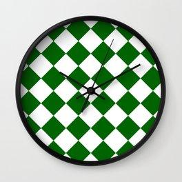 Large Diamonds - White and Dark Green Wall Clock