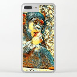 AnimalArt_Chimpanzee_20170605_by_JAMColorsSpecial Clear iPhone Case