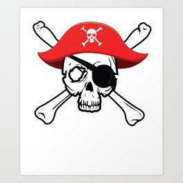 Pirate Skull and Crossbones with Red Hat and Eye Patch Art Print