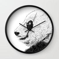 pandas Wall Clocks featuring pandas by barmalisiRTB