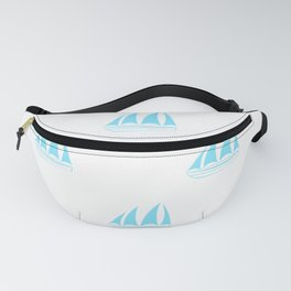 Turquoise Sailboat Pattern Fanny Pack